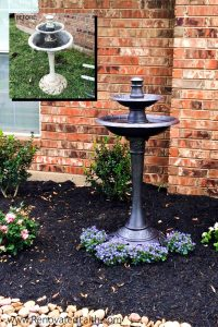 Bird Bath Makeover - DIY Landscape Design – Want to save money by landscaping your yard but don't know where to start? Planning your own landscape design can be overwhelming but these simple front yard landscaping ideas will give your yard a professional look without while staying on budget. #frontyardlandscapingideas #frontyardlandscapingideaswithstones #landscapearchitecture #smallfrontyard www.renovatedfaith.com