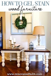 two end tables with stained tops