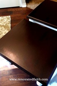 top of dark stained end table