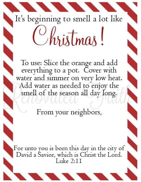 Stovetop Potpourri Recipe Gift Tag