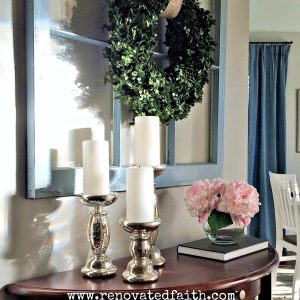 DIY Boxwood Topiary Trees - If you have sticker shock from the boxwood topiary trees sold in stores, here is my tutorial on how to make artificial boxwood topiary trees that are more durable, just as life-like and a fraction of the cost as the ones online. How to Make a Topiary Ball Tree. #topiarytrees #boxwooddecor #boxwoodballs #diyoutdoortopiary #topiaryballs