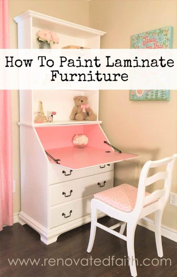 How to Paint Laminate Furniture - www.renovatedfaith.com #laminate #paint #furniture