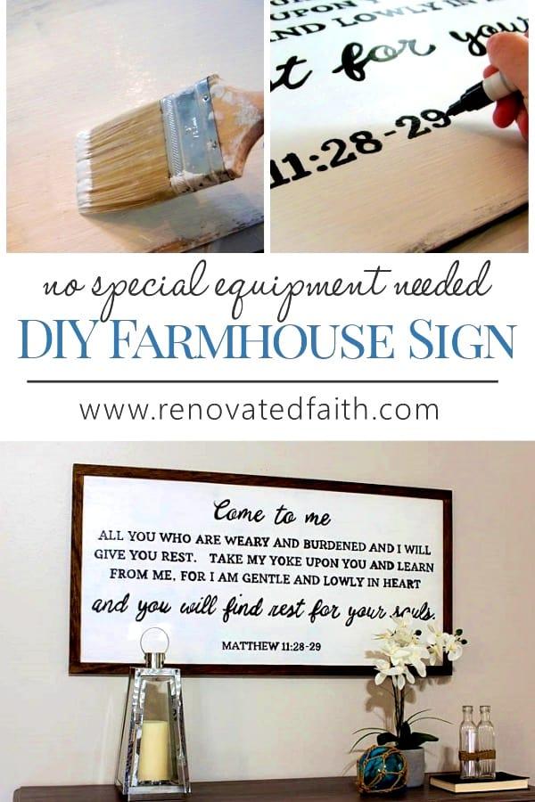 Easy Diy Farmhouse Sign No Special Equipment Needed Renovated Faith