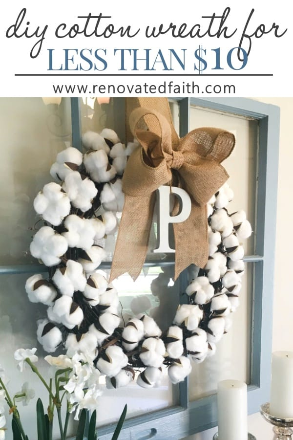 cotton wreath with bow