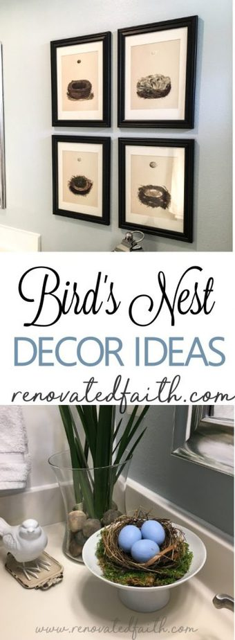 Bird Nest Decor / DIY Framed Nest Art - What is it about bird's nests that are so inviting? Maybe it's the hint of spring or the thought of something new and wonderful on the horizon. This post will help you implement some bird's nest decor ideas in your home as well as make your own DIY framed nest art. #diyframedart #nestwallart #birdnestdecor #birdnest #renovatedfaith www.renovatedfaith.com