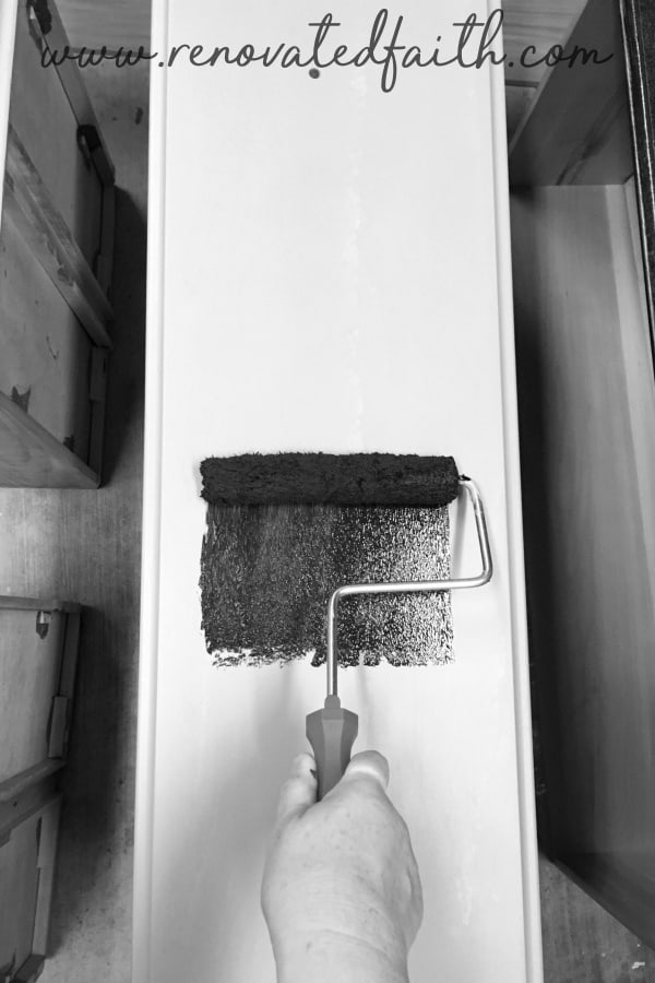black and white of paint roller