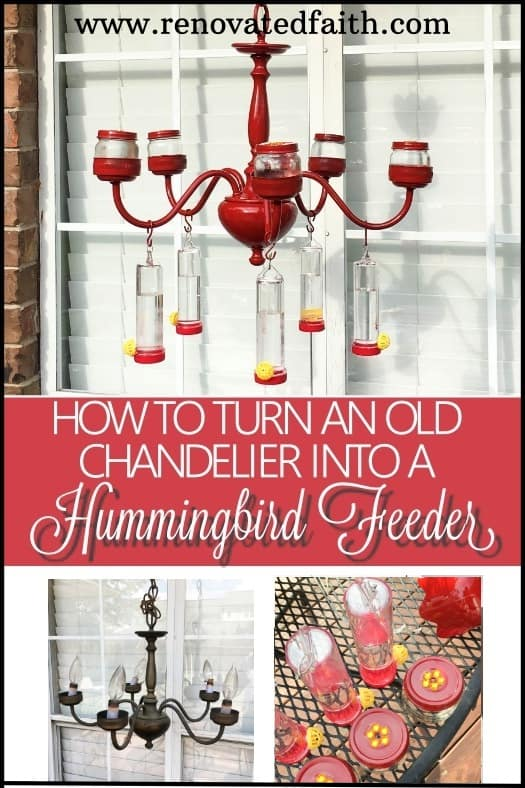By upcycling an old chandelier, I made a DIY chandelier hummingbird feeder that is sure to turn your backyard into a hummingbird haven. #hummingbirdfeeder #chandelierhummingbirdfeeder #backyard
