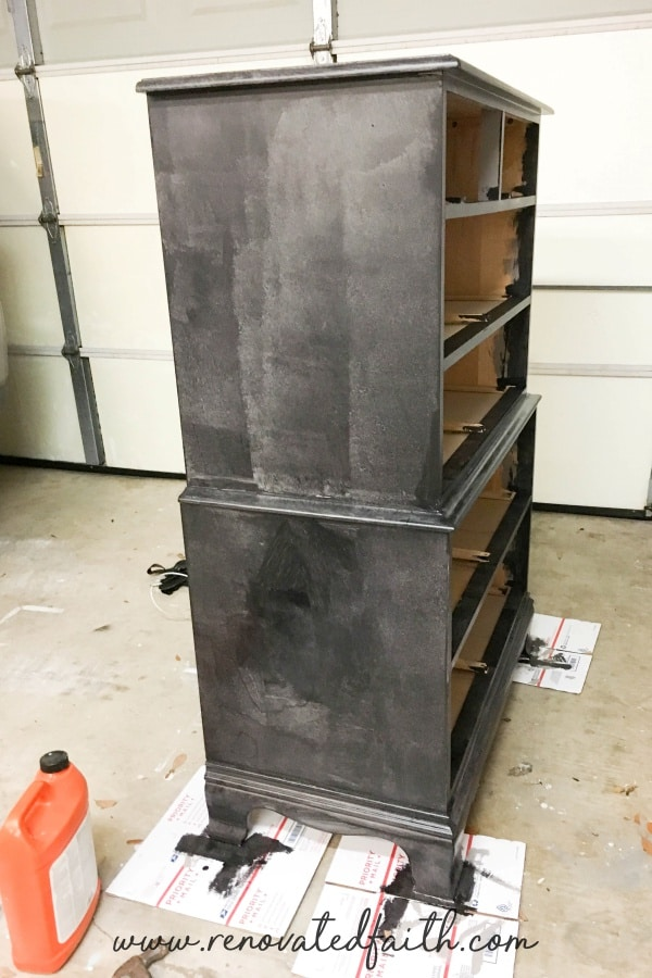 black dresser painted