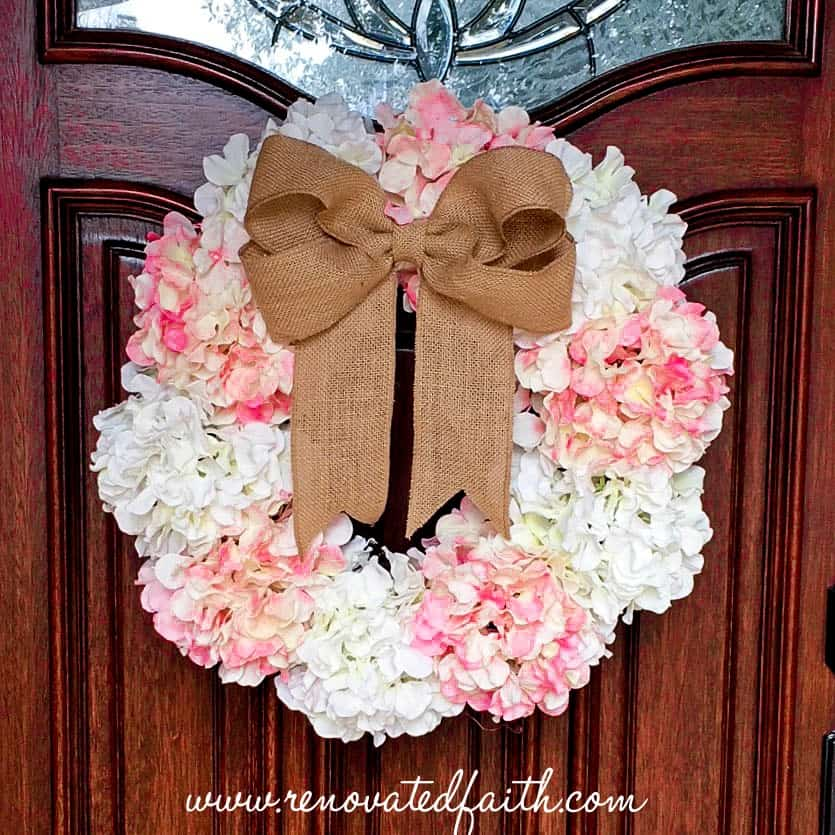hydrangea door wreath