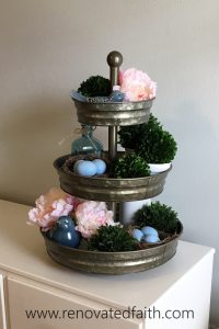 """Tiered Tray with Boxwood - Should I DIY or buy? Here are 5 tips to help you decide whether to buy or make your next home decor item, as well as the best way to """"make"""" a boxwood wreath. How to make an artificial boxwood wreath. DIY preserved boxwood wreath. How to make a real a real boxwood wreath. #boxwoodwreath #preservedboxwood #boxwoodsprigs"""