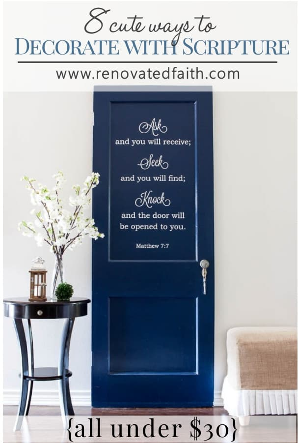 navy door with Bible verse