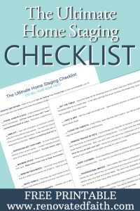 Ultimate Home Staging Checklist - Tips for Selling Your House Fast - Do you want to maximize the return on your investment when updating your home to sell? Do you wish you could shorten the amount of time your home is on the market? Sure you do. I'm sharing my best tips for selling your house fast which helped our old house to get 24 showings and 12 offers within the first 24 hours. How To Get Your House Ready To Sell. Home Selling Tips 2018. How To Sell Your House Fast in a Slow Market. #sellhouse #stagingchecklist #tipstosellhouse