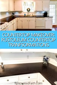 How To Refinish Laminate Countertops - Rustoleum Countertop Transformations Before and After, Java. Rustoleum Countertop Transformations Review. Low Budget Countertop, #rustoleumtransformations www.renovatedfaith.com