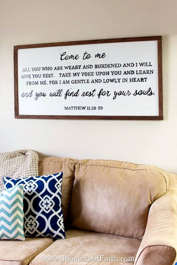 farmhouse sign with Bible verse