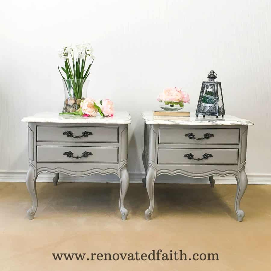 two gray side tables
