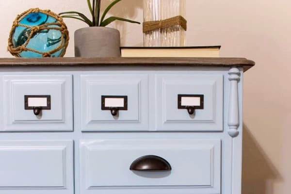 Coastal Blue Dresser Makeover with Driftwood Top