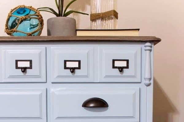 Coastal Blue Dresser Makeover with Driftwood Top