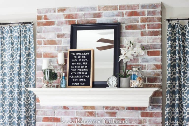 How To Whitewash a Dated Brick Fireplace (Easy & Mess-Free!)