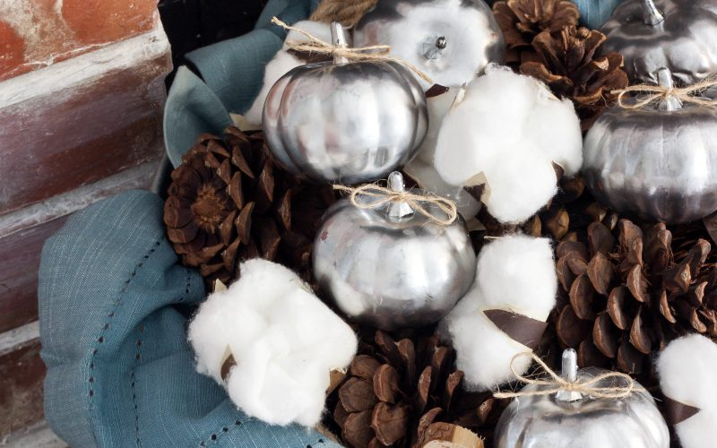 Blue Thanksgiving Decor with Dollar Store Pumpkins