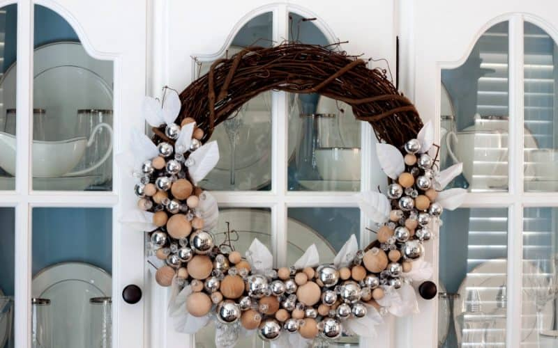 Rustic Glam Christmas Wreath & Decor: Make a Christmas Wreath with Ornaments & Wood Balls
