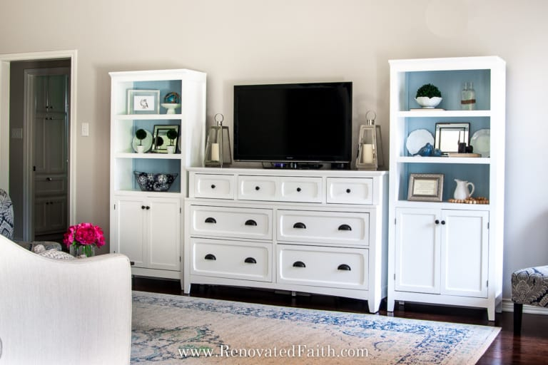 NO-BUILD DIY Entertainment Center with Bookshelves