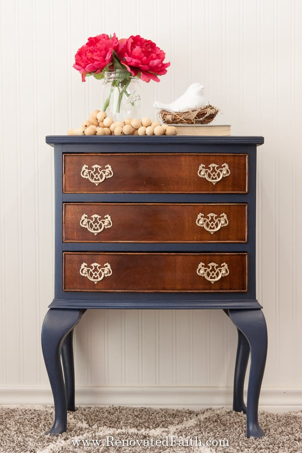 how to paint furniture navy blue
