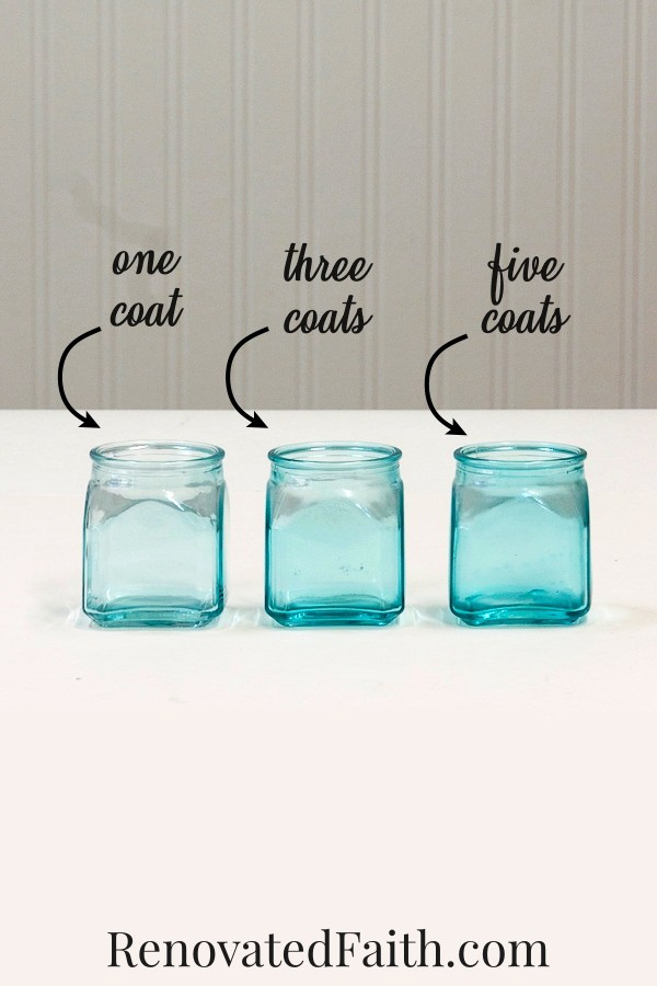 how to paint mason jars blue