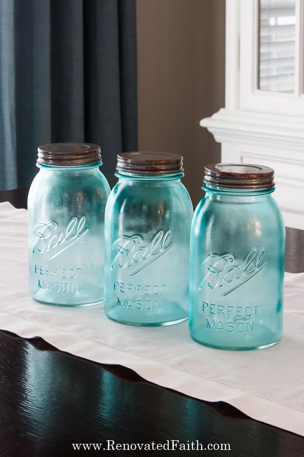 how to tint mason jars blue