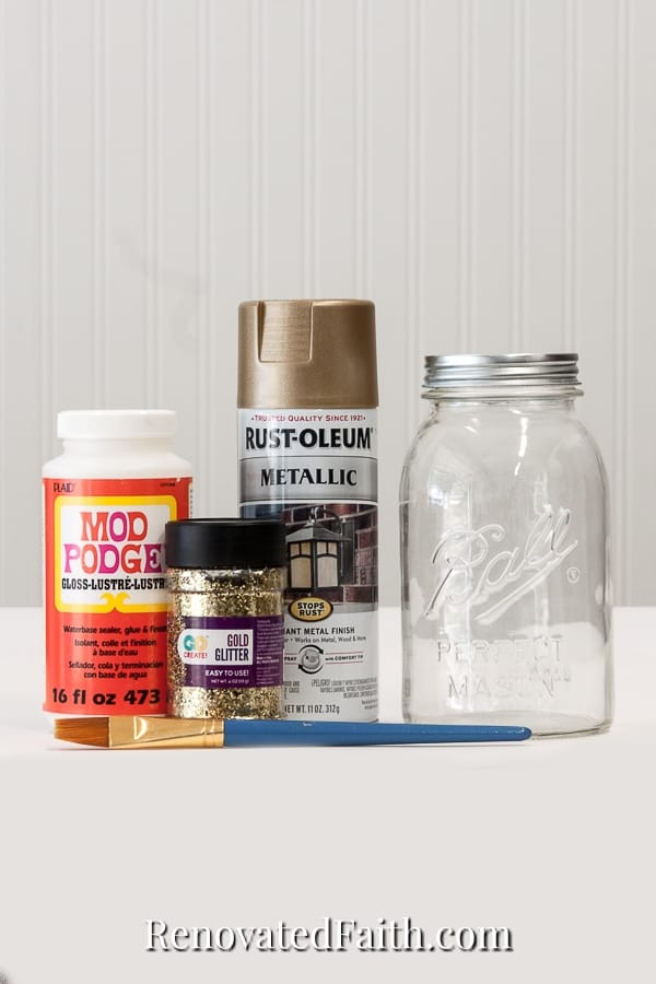 how to paint mason jars gold