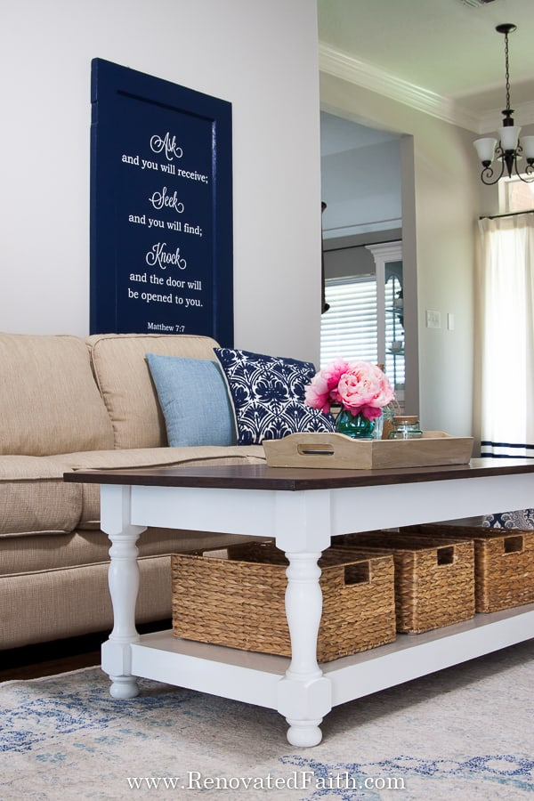 Easy DIY Farmhouse Coffee Table With Turned Legs