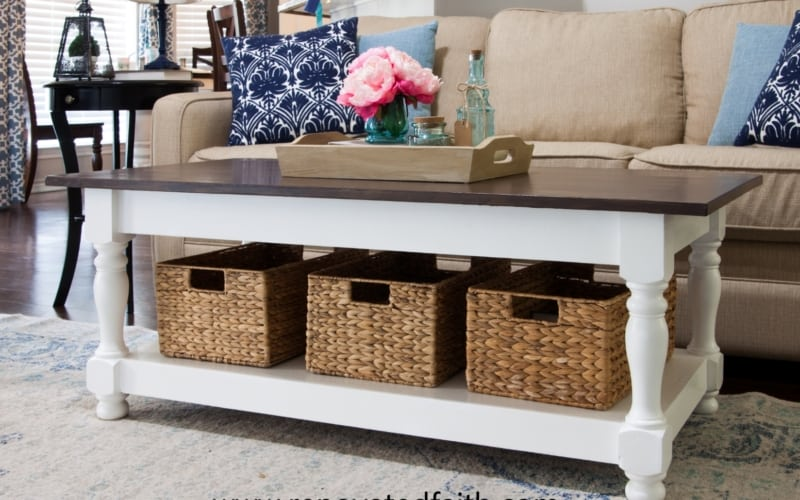DIY Farmhouse Coffee Table with Turned Legs & Storage (Free Plans)