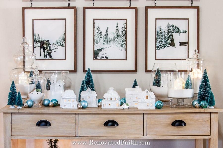 Christmas village makeover with paint