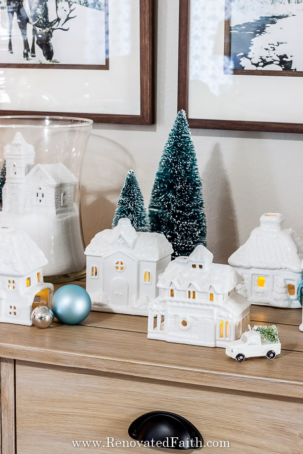 christmas village update with spray paint