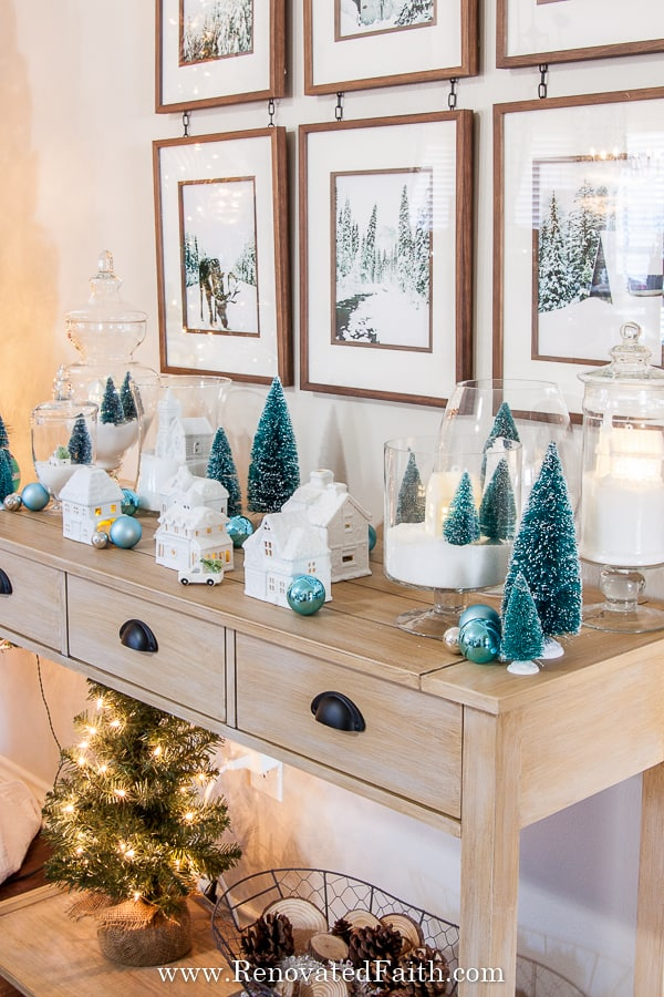 Christmas village makeover with spray paint