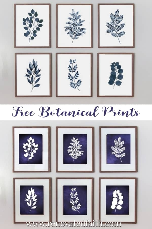 free blue and white botanical wall art