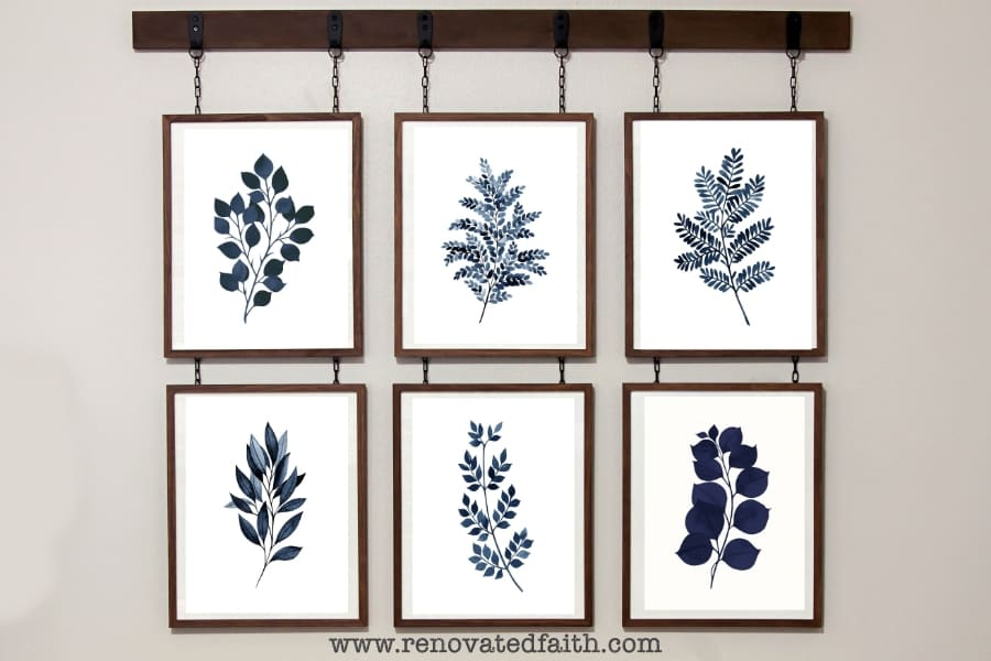 free blue fern botanical prints