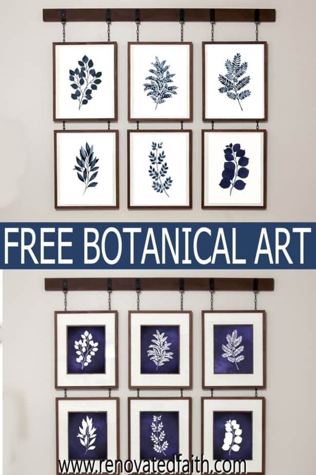 free blue botanical wall art