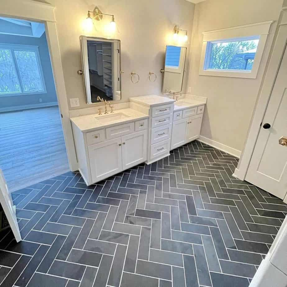 Sherwin Williams Agreeable Gray Bathroom with Gray Tile Floor