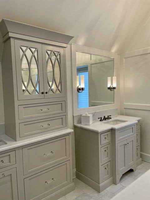 Sherwin Williams agreeable Gray bathroom cabinets