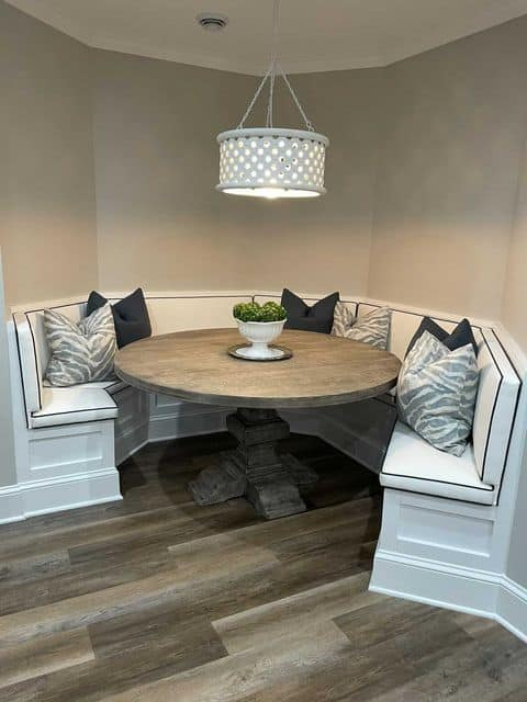 Sherwin williams agreeable gray breakfasta area by blue creativive interiors