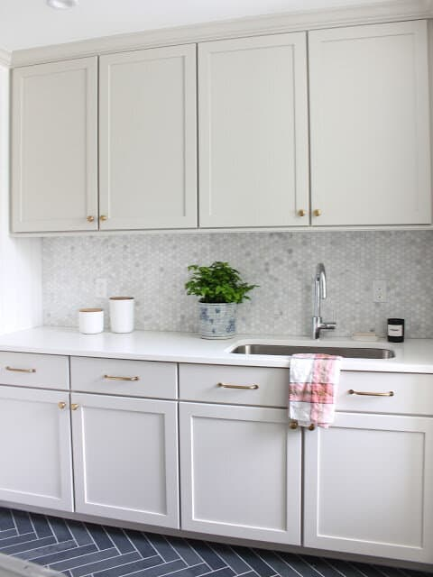 Sherwin Williams Agreeable Gray Laundry Room Cabinets