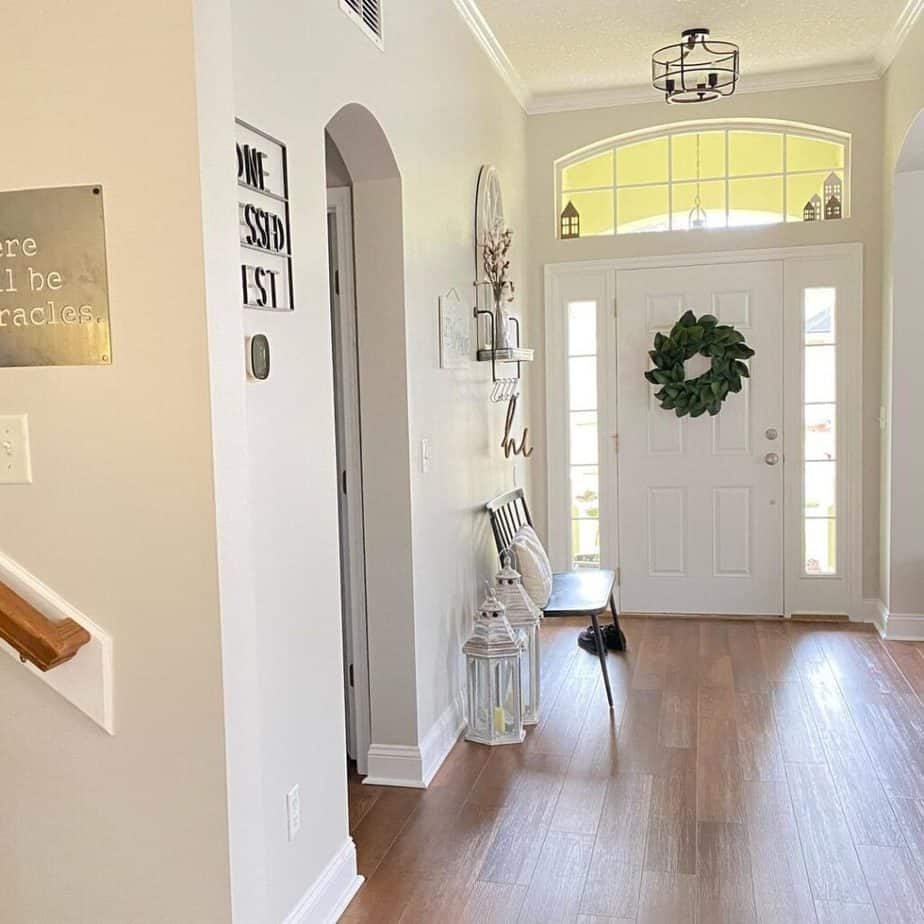 Sherwin Williams Entryway with wood floors