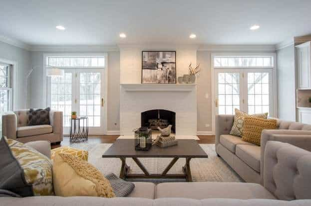 Sherin Williams Agreeable Gray Living Room with Yellow Accents