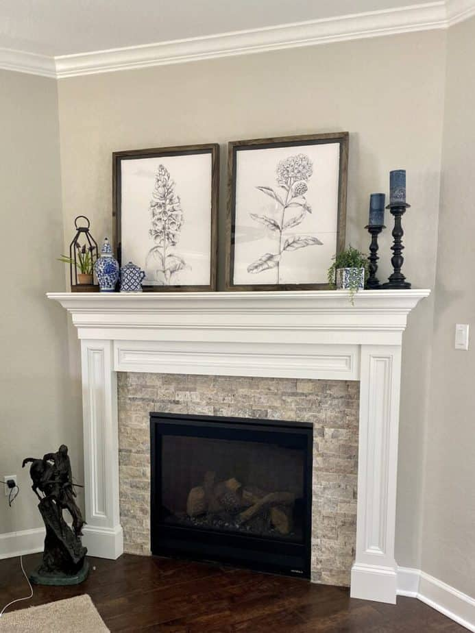 Sherwin Williams Agreeable Gray Living ROom Wall with Fireplace