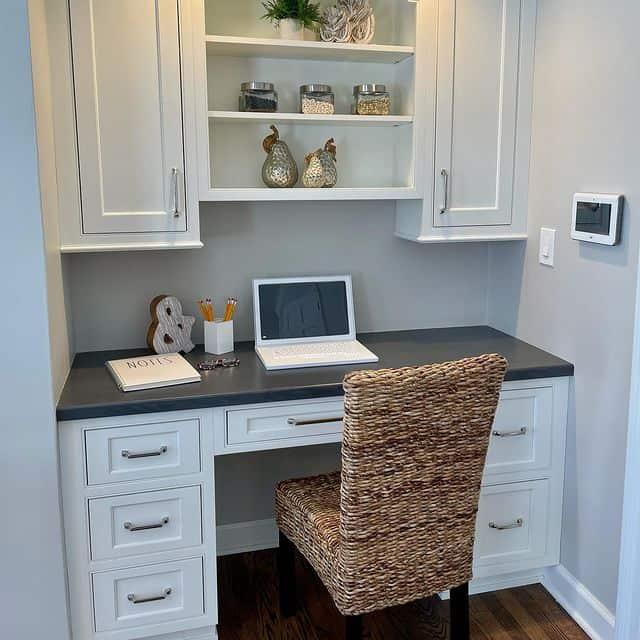 Sherwin Williams Agreeable Gray Kitchen desk Area