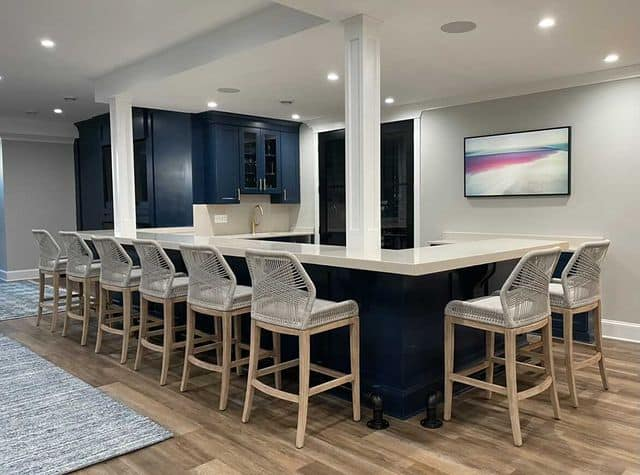 Sherwin Williams agreeable gray with navy cabinets