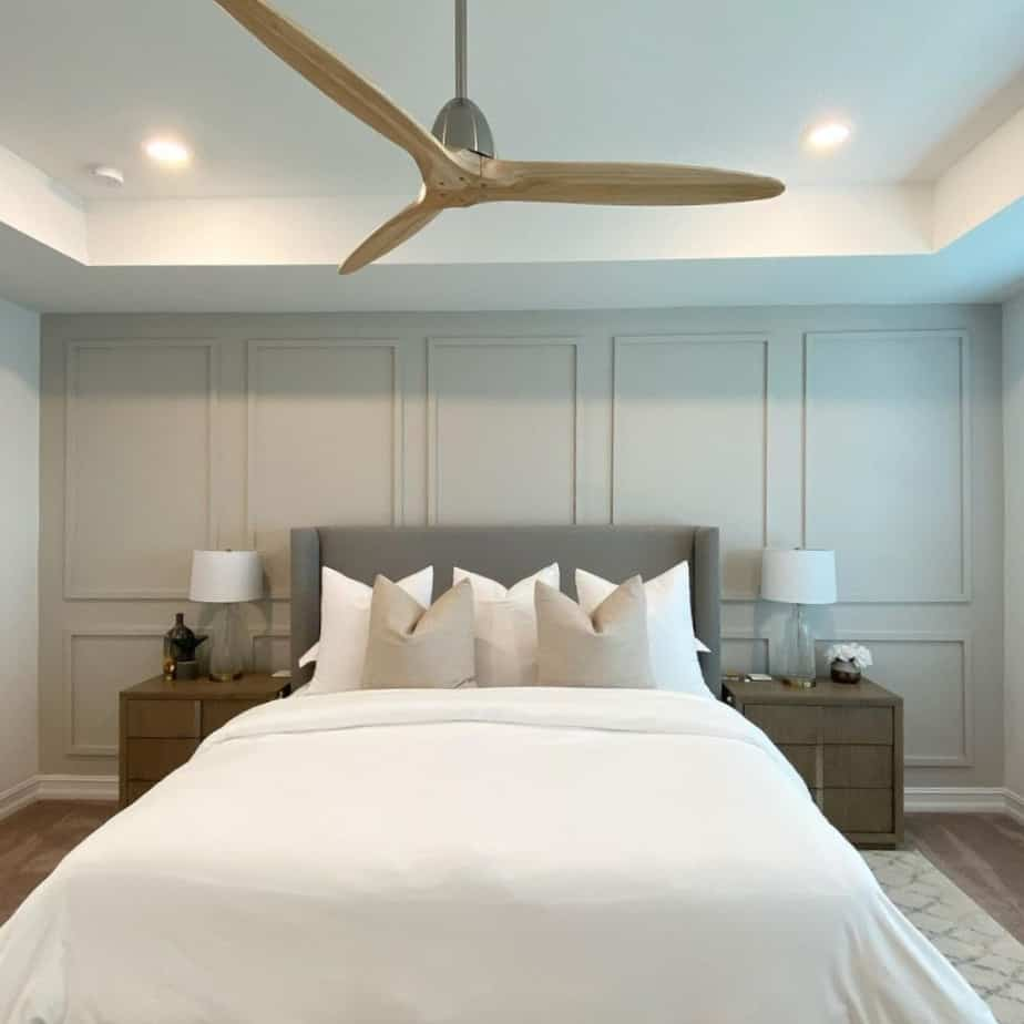 Sherwin Williams Agreeable Gray Board and Batten Accent Wall in Bedroom