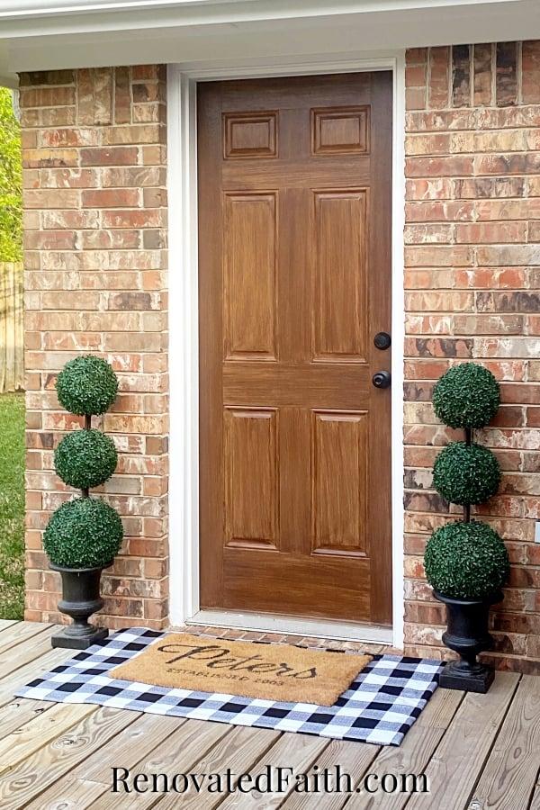 how to opaint a metal door to look like woodgrain