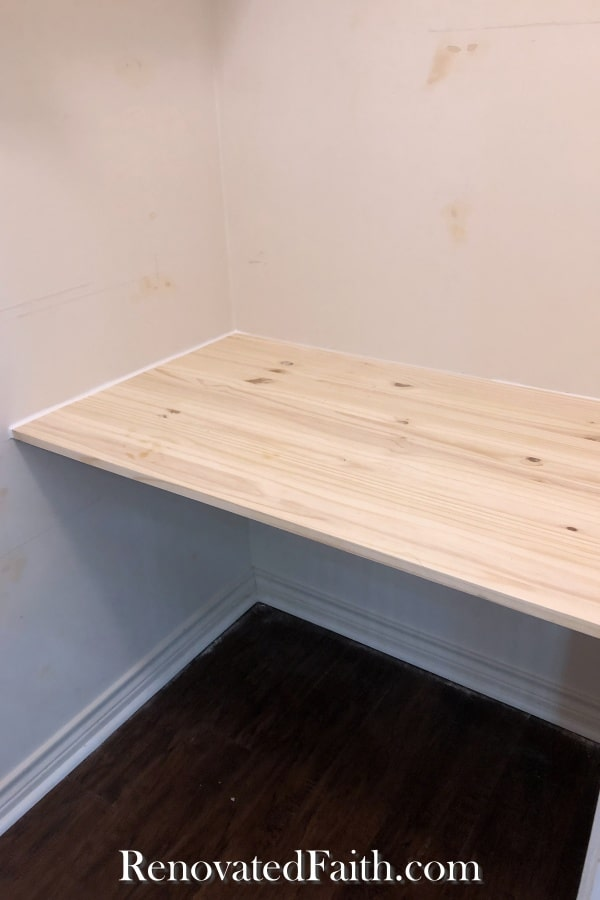 diy floating desk in closet