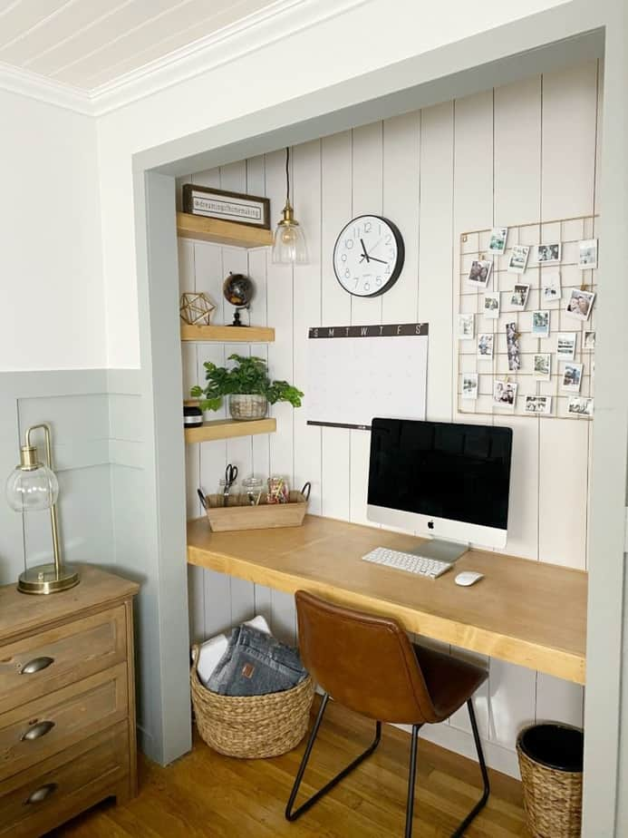 diy closet desk with vertical shiplap